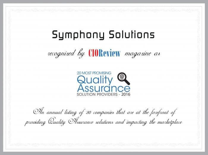 Symphony Solutions are among 20 Most Promising Quality Assurance Solution Providers 2016