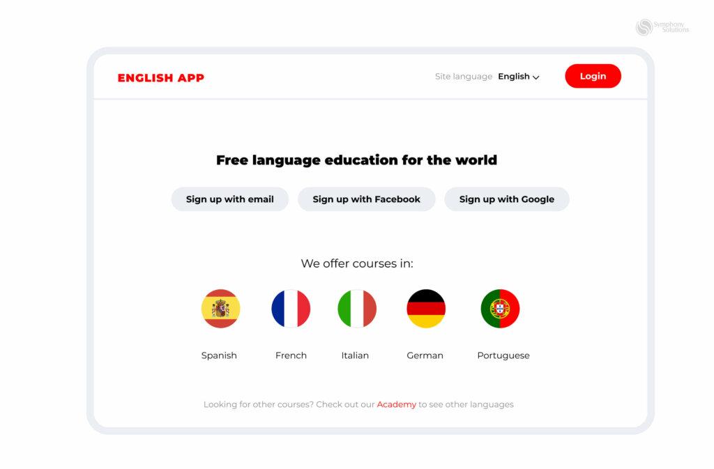 languages studing app interface