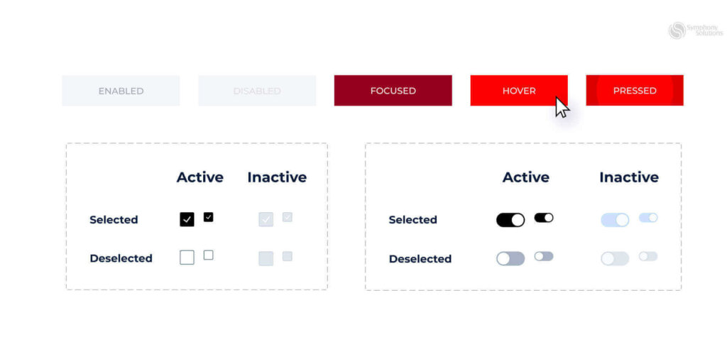 buttons interactivity in apps